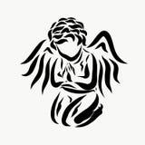 在谦逊的祷告的一个小的天使 皇族释放例证