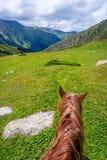 在谷从马后面,吉尔吉斯斯坦的看法 免版税库存照片