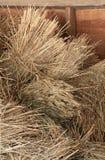 在谷仓麦子堆积的大包 免版税库存图片