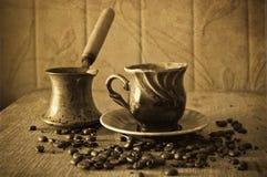 在谷物的咖啡 库存图片