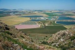 在谷的全景从山土坎 库存照片