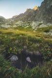 在谷的小河在日落的山峰下 库存图片