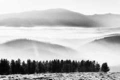 在谷的早晨雾与迷雾山脉 免版税库存图片