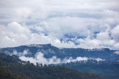 在谷的看法在从亚当的峰顶的多云早晨 免版税图库摄影