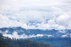 在谷的看法在从亚当的峰顶的多云早晨 图库摄影