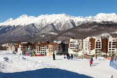 在谷罗莎Khutor的滑雪胜地 2014 2018场杯子比赛奥林匹克俄国索契冬天世界 库存图片