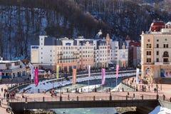 在谷罗莎Khutor的滑雪胜地 2014 2018场杯子比赛奥林匹克俄国索契冬天世界 免版税库存照片