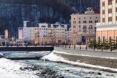 在谷罗莎Khutor的滑雪胜地 2014 2018场杯子比赛奥林匹克俄国索契冬天世界 免版税图库摄影
