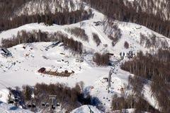 在谷罗莎Khutor的滑雪胜地 2014 2018场杯子比赛奥林匹克俄国索契冬天世界 免版税库存图片