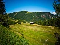 在谷, Alpe di Siusi,意大利的村庄 库存照片
