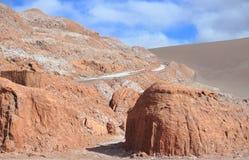 在谷de la月/月球的石头在智利 免版税库存图片