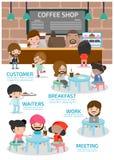 在豆咖啡杯新鲜的界面附近 都市社会概念 Infographic元素 传染媒介平的象动画片设计 例证 隔绝在白色backgro 免版税图库摄影