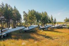 在象草的地面的被放弃的打破的老军用战斗机飞机 图库摄影