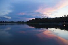 在象草的池塘度假区的日落 库存图片