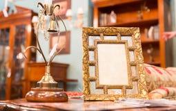 在豪华内部的照片框架 免版税库存图片