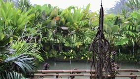 在豪华巴厘语别墅的Dreamcatcher 下雨季节 下雨下落 背景蓝色云彩调遣草绿色本质天空空白小束 影视素材