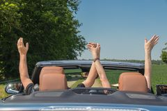 在豪华敞篷车汽车的微笑的愉快的资深夫妇 免版税库存图片