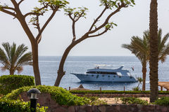 在豪华旅馆开汽车游艇和海滩 免版税库存图片