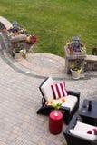 在豪华石露台的舒适的就座 免版税图库摄影