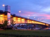 在贝尔格莱德萨瓦河的日落 免版税图库摄影