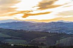 在贝尔蒂诺罗小山,意大利的日落 免版税图库摄影