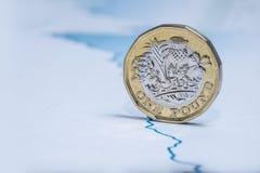 在财政图的英国1英镑硬币 免版税库存照片