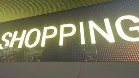 在购物中心前面的购物车 股票录像