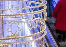 在购物中心的霓虹` s圣诞节装饰 免版税库存照片