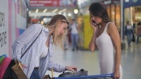 在购物期间的两个女性朋友 库存图片