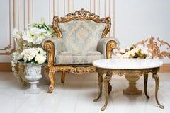 在贵族样式的豪华葡萄酒内部与典雅的扶手椅子和花 减速火箭,经典之作 库存照片