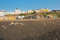 在费埃特文图拉岛海岛,西班牙上的小渔村Ajuy 库存图片