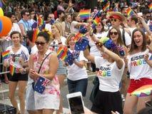在资本骄傲游行的澳大利亚自豪感 免版税库存图片