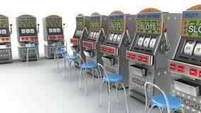在赌博娱乐场内部的老虎机 影视素材