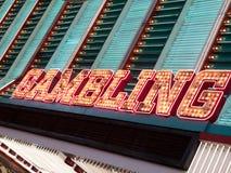 在赌博娱乐场,佛瑞蒙街,拉斯维加斯, Nevad的霓虹赌博的标志 免版税库存照片