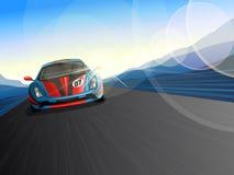 在赛马跑道的加速的赛车 免版税库存图片