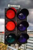 在赛马跑道的红绿灯 免版税库存图片