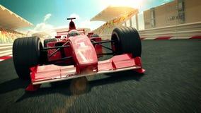 在赛马跑道的赛车 库存例证