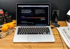 在赞成iPad的WWDC最新的公告的苹果电脑 免版税库存照片