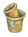 在赤土陶器植物罐的年迈的古色 库存例证
