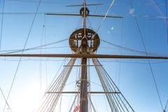 在赫诺瓦市口岸的西班牙galleon战舰复制品  库存照片