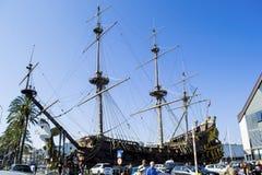 在赫诺瓦意大利港的海王星Galeon  免版税图库摄影