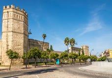 在赫雷斯de la弗隆特里城堡墙壁的看法在西班牙 免版税库存照片