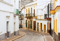 在赫雷斯de la弗隆特里,西班牙的老街道 免版税图库摄影