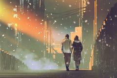 在走在城市街道上的爱的夫妇  库存照片