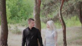 在走在晴朗的森林里的爱的愉快的年轻夫妇握手 股票视频