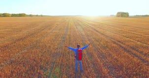 在走横跨一块巨大的麦田的年轻人游人的低飞行 手,优胜者,愉快和自由概念 影视素材
