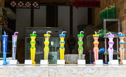 在走的街道的纪念品在成都,中国 免版税库存图片