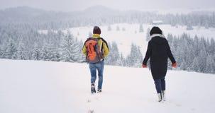 在走通过多雪的领域的冬日两旅游男人和妇女,冻结他们去他们的目的地 影视素材