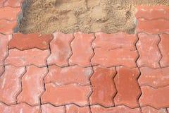 在走道使用的适合的砖块 库存照片