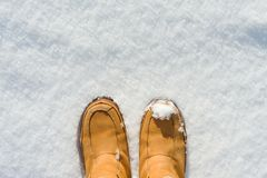 在起动的妇女腿在雪,冬天来临,你好冬天,在上面的拷贝空间,顶视图关闭  库存图片